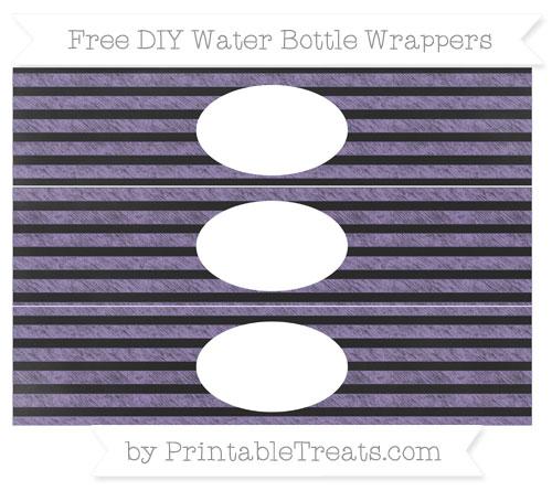 Free Pastel Dark Plum Horizontal Striped Chalk Style DIY Water Bottle Wrappers