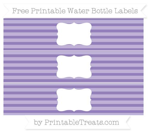 Free Pastel Dark Plum Horizontal Striped Water Bottle Labels