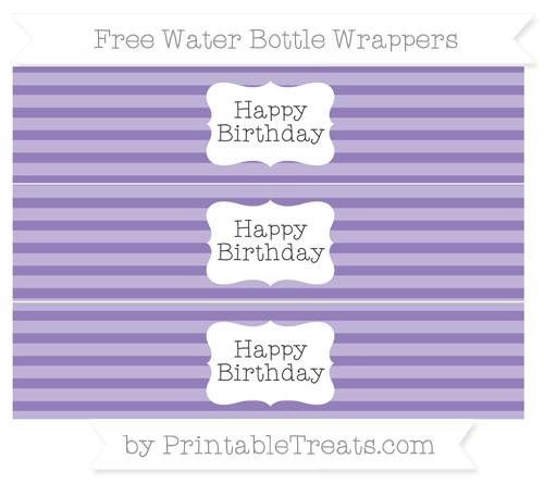 Free Pastel Dark Plum Horizontal Striped Happy Birhtday Water Bottle Wrappers