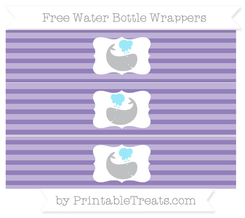 Free Pastel Dark Plum Horizontal Striped Whale Water Bottle Wrappers