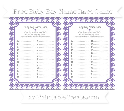 Free Pastel Dark Plum Houndstooth Pattern Baby Boy Name Race Game