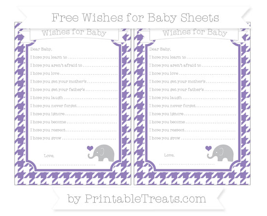 Free Pastel Dark Plum Houndstooth Pattern Baby Elephant Wishes for Baby Sheets