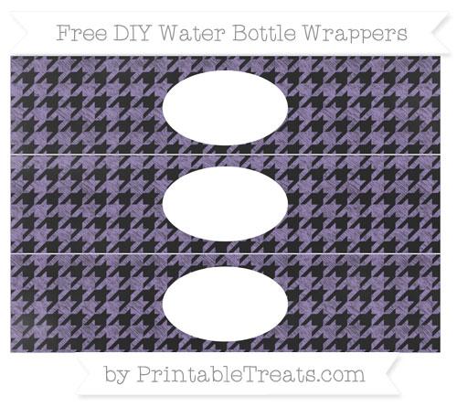 Free Pastel Dark Plum Houndstooth Pattern Chalk Style DIY Water Bottle Wrappers