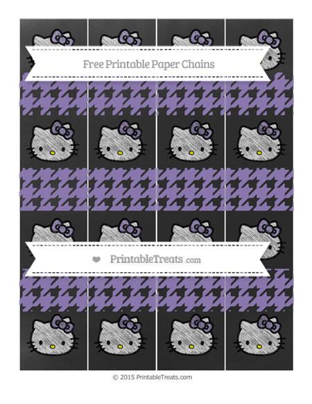 Free Pastel Dark Plum Houndstooth Pattern Chalk Style Hello Kitty Paper Chains