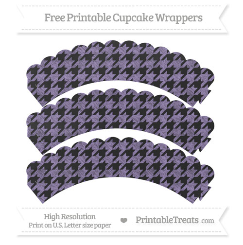 Free Pastel Dark Plum Houndstooth Pattern Chalk Style Scalloped Cupcake Wrappers