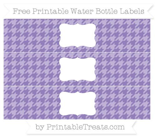 Free Pastel Dark Plum Houndstooth Pattern Water Bottle Labels
