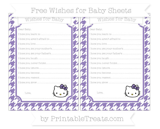 Free Pastel Dark Plum Houndstooth Pattern Hello Kitty Wishes for Baby Sheets