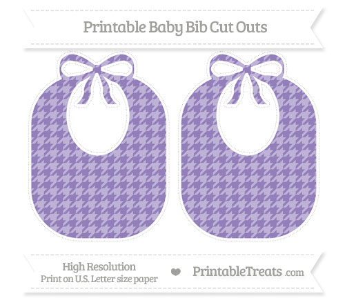 Free Pastel Dark Plum Houndstooth Pattern Large Baby Bib Cut Outs