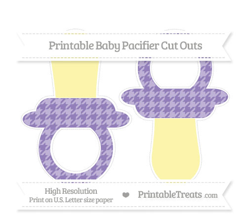 Free Pastel Dark Plum Houndstooth Pattern Large Baby Pacifier Cut Outs
