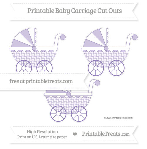 Free Pastel Dark Plum Houndstooth Pattern Medium Baby Carriage Cut Outs