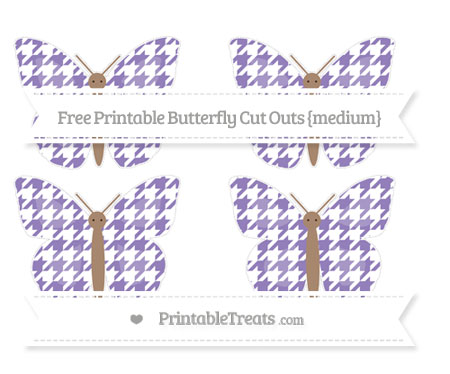 Free Pastel Dark Plum Houndstooth Pattern Medium Butterfly Cut Outs