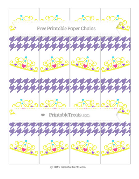 Free Pastel Dark Plum Houndstooth Pattern Princess Tiara Paper Chains
