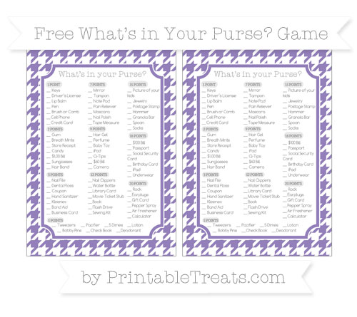 Free Pastel Dark Plum Houndstooth Pattern What's in Your Purse Baby Shower Game