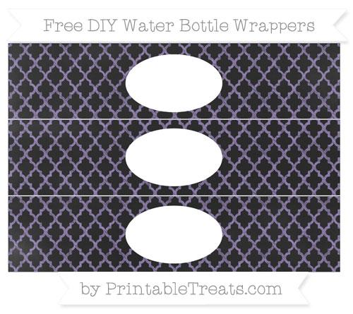 Free Pastel Dark Plum Moroccan Tile Chalk Style DIY Water Bottle Wrappers