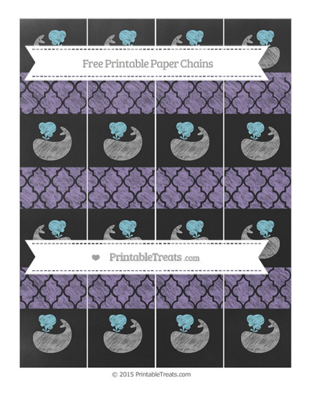 Free Pastel Dark Plum Moroccan Tile Chalk Style Whale Paper Chains