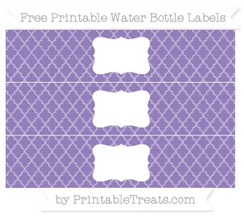 Free Pastel Dark Plum Moroccan Tile Water Bottle Labels