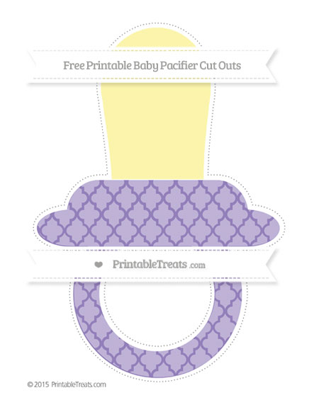Free Pastel Dark Plum Moroccan Tile Extra Large Baby Pacifier Cut Outs