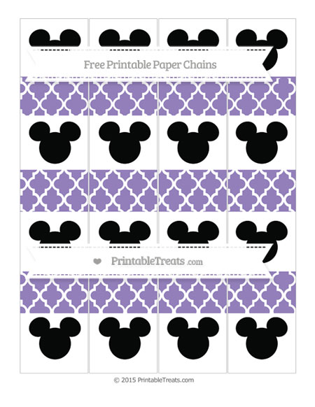 Free Pastel Dark Plum Moroccan Tile Mickey Mouse Paper Chains