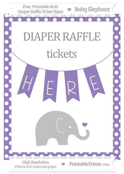 Free Pastel Dark Plum Polka Dot Baby Elephant 8x10 Diaper Raffle Ticket Sign