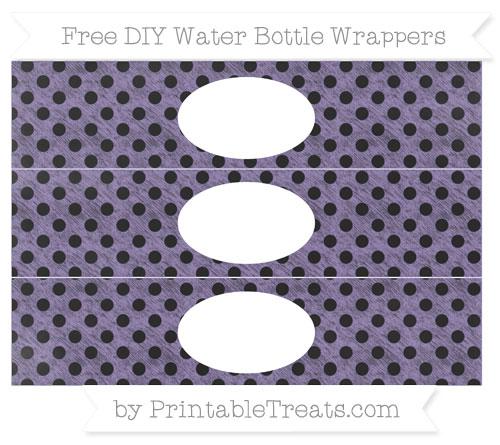 Free Pastel Dark Plum Polka Dot Chalk Style DIY Water Bottle Wrappers
