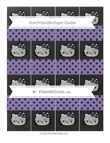 Free Pastel Dark Plum Polka Dot Chalk Style Hello Kitty Paper Chains