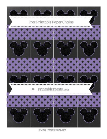 Free Pastel Dark Plum Polka Dot Chalk Style Mickey Mouse Paper Chains