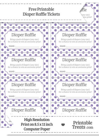 Free Pastel Dark Plum Polka Dot Diaper Raffle Tickets