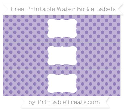 Free Pastel Dark Plum Polka Dot Water Bottle Labels