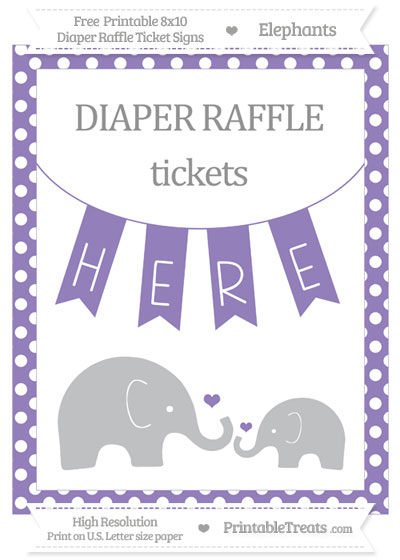 Free Pastel Dark Plum Polka Dot Elephant 8x10 Diaper Raffle Ticket Sign
