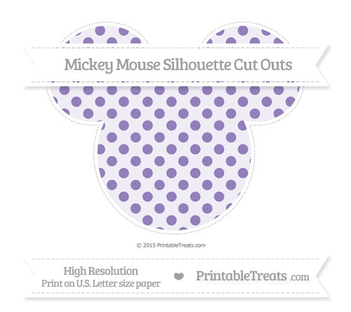 Free Pastel Dark Plum Polka Dot Extra Large Mickey Mouse Silhouette Cut Outs