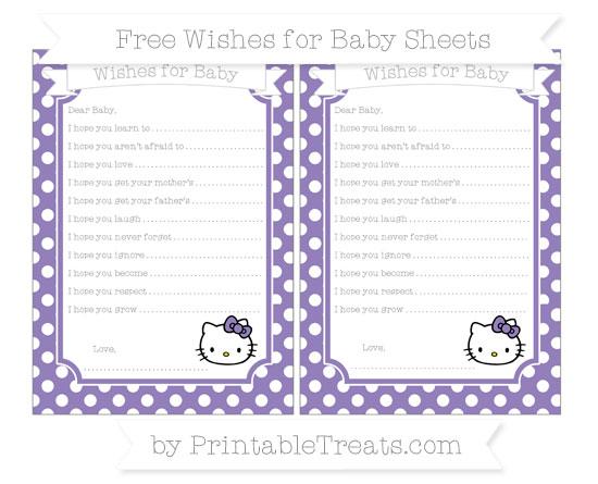 Free Pastel Dark Plum Polka Dot Hello Kitty Wishes for Baby Sheets