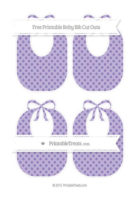 Free Pastel Dark Plum Polka Dot Medium Baby Bib Cut Outs