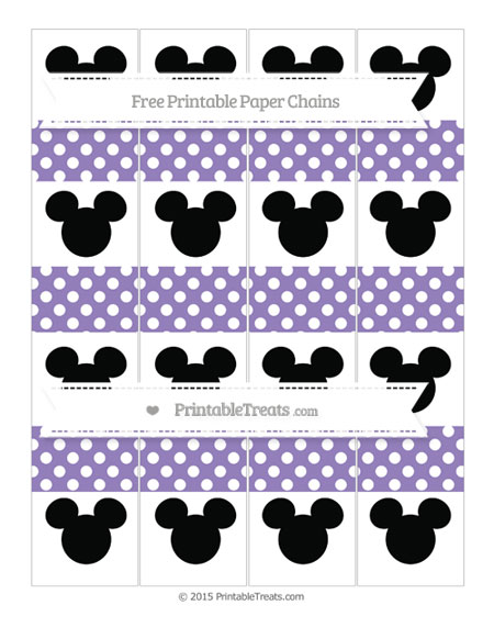 Free Pastel Dark Plum Polka Dot Mickey Mouse Paper Chains