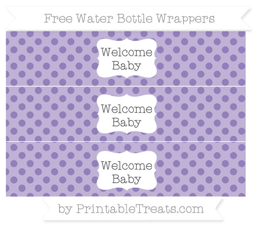 Free Pastel Dark Plum Polka Dot Welcome Baby Water Bottle Wrappers