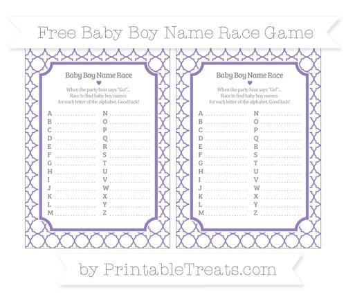 Free Pastel Dark Plum Quatrefoil Pattern Baby Boy Name Race Game