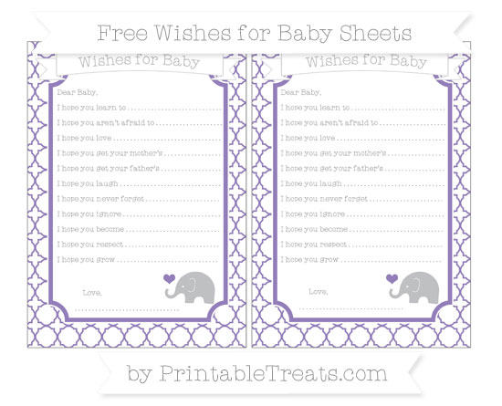 Free Pastel Dark Plum Quatrefoil Pattern Baby Elephant Wishes for Baby Sheets