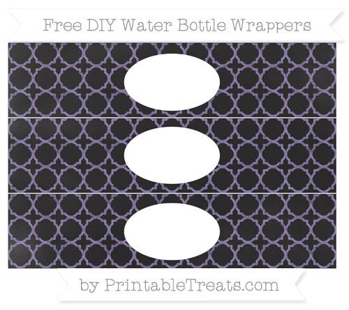 Free Pastel Dark Plum Quatrefoil Pattern Chalk Style DIY Water Bottle Wrappers
