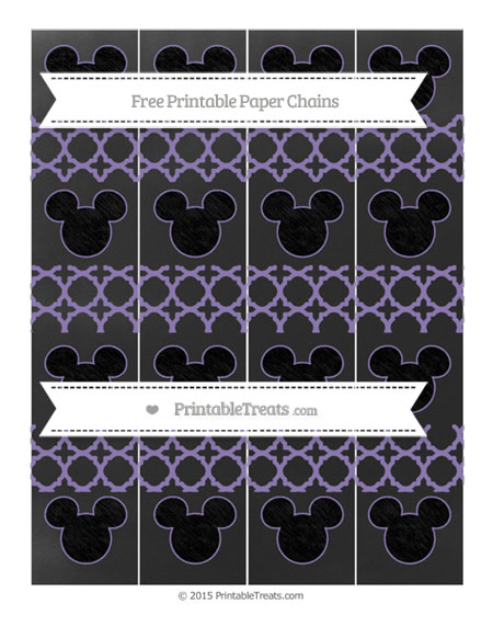 Free Pastel Dark Plum Quatrefoil Pattern Chalk Style Mickey Mouse Paper Chains