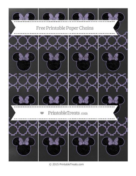 Free Pastel Dark Plum Quatrefoil Pattern Chalk Style Minnie Mouse Paper Chains