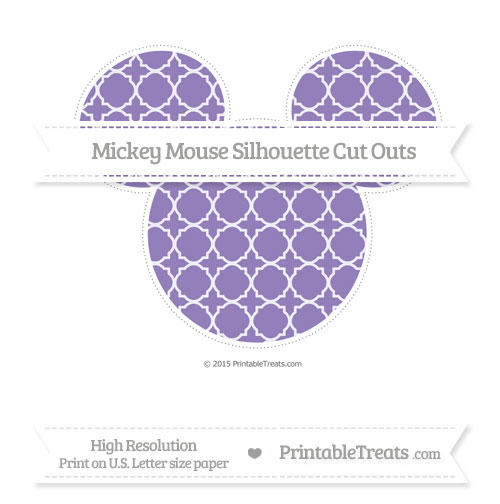 Free Pastel Dark Plum Quatrefoil Pattern Extra Large Mickey Mouse Silhouette Cut Outs
