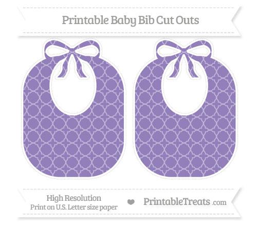 Free Pastel Dark Plum Quatrefoil Pattern Large Baby Bib Cut Outs