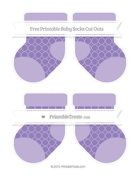 Free Pastel Dark Plum Quatrefoil Pattern Medium Baby Socks Cut Outs