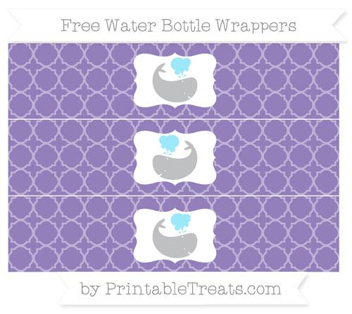 Free Pastel Dark Plum Quatrefoil Pattern Whale Water Bottle Wrappers