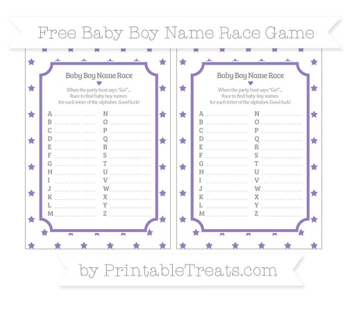 Free Pastel Dark Plum Star Pattern Baby Boy Name Race Game
