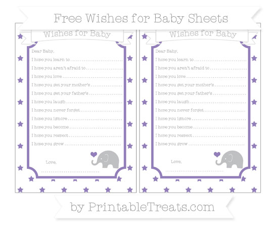 Free Pastel Dark Plum Star Pattern Baby Elephant Wishes for Baby Sheets