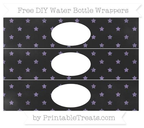 Free Pastel Dark Plum Star Pattern Chalk Style DIY Water Bottle Wrappers