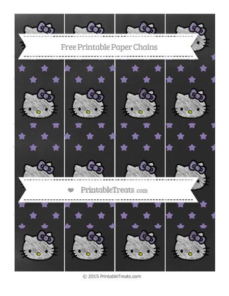 Free Pastel Dark Plum Star Pattern Chalk Style Hello Kitty Paper Chains