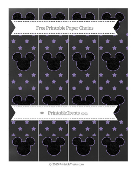 Free Pastel Dark Plum Star Pattern Chalk Style Mickey Mouse Paper Chains