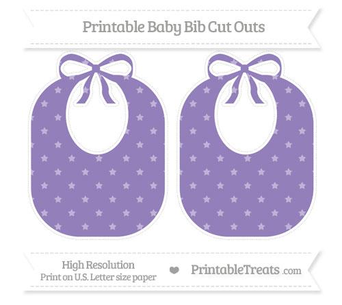 Free Pastel Dark Plum Star Pattern Large Baby Bib Cut Outs