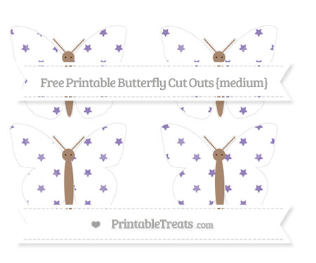 Free Pastel Dark Plum Star Pattern Medium Butterfly Cut Outs